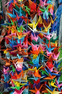 picture of origami folded cranes