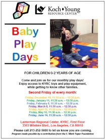 Baby Play Days Flyer 2013 Dates