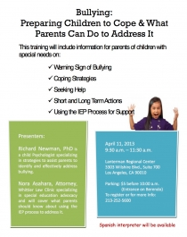 graphic of bullying training flyer