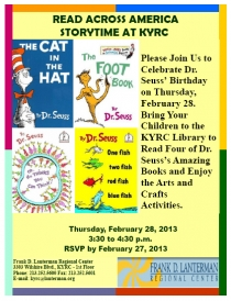 Graphic of Dr. Seuss KYRC Feb 2013 Storytime flyer