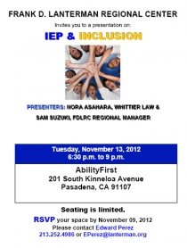 Graphic of IEP and inclusion flyer