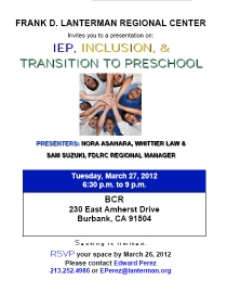 image of IEP, Inclusion and Transition to Preschool flyer