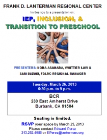 IEP Inclusion and Transition to Preschool flyer