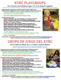 Playgroups flyer for fall 2013 sessions