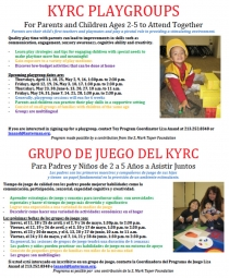 Playgroups flyer for spring/summer 2013 sessions