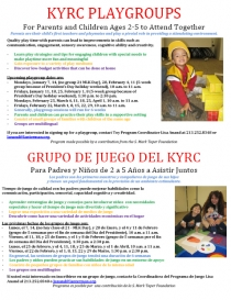 Playgroups flyer for early 2013 sessions