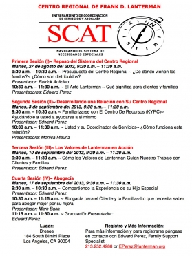 graphic of the August 2013 SCAT flyer