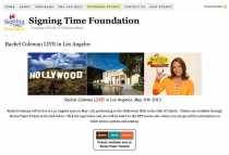 screenshot of the Singing Time Foundation Rachel Coleman LA Event Web site page