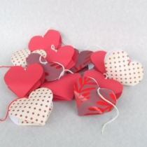 heart-shaped origami in various Valentine-print paper
