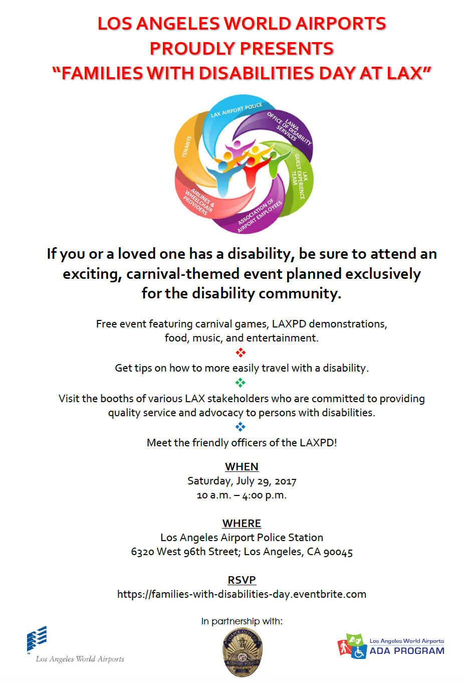 Families With Disabilities Day At Lax Is Being Held On Saturday, July 29,  2107 From 10 Am To 4 Pm At The Los Angeles Airport Police Station And  Is A
