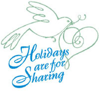 Holidays are for Sharing logo featuring text, dove bird and heart.
